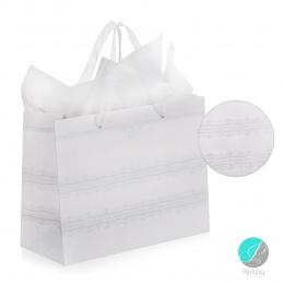 Gift bag - Луксозна подаръчна торбичка - бяла със сребърен Брокат