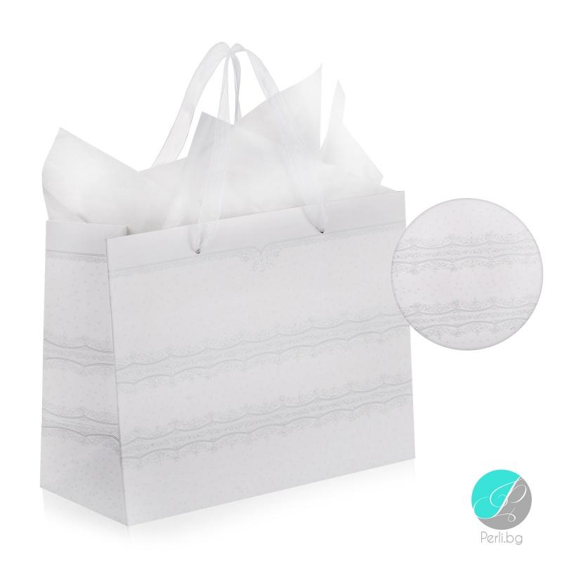 Gift bag - Луксозна подаръчна торбичка - бяла със сребърен Брокат-