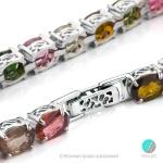 Margo - Сребърна гривна с Аметист,Перидот,опушен Кварц, Оливин и розов Топаз s86-Естествени камъни