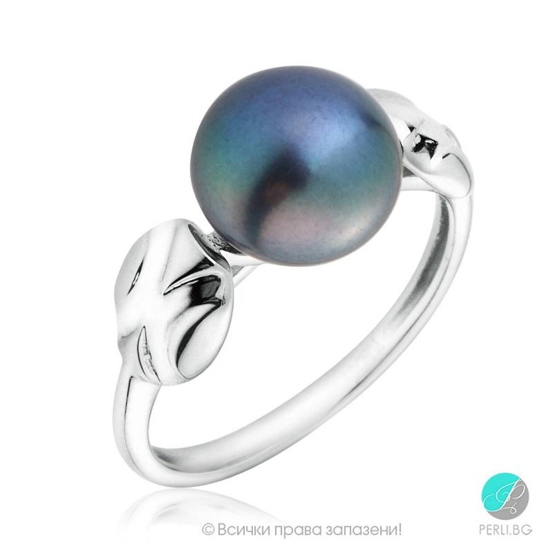 Devora - Сребърен пръстен с Перла АА 9 - 9 .5 мм 12300-Пръстени