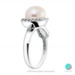 Kristalina -  Сребърен пръстен с Перла и Циркони АА 9 - 9.5 мм 12334-Пръстени