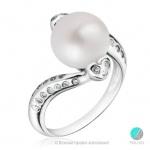 Cintia - Сребърен пръстен с Перла и Циркони АА 8 - 8.5 мм 10385-Пръстени
