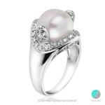 Darma - Сребърен пръстен с Перла и Циркони АА 10.5 - 11 мм 12062-Пръстени