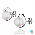 Iva - Сребърни обеци с Перла АА  8мм  253822388-Обеци