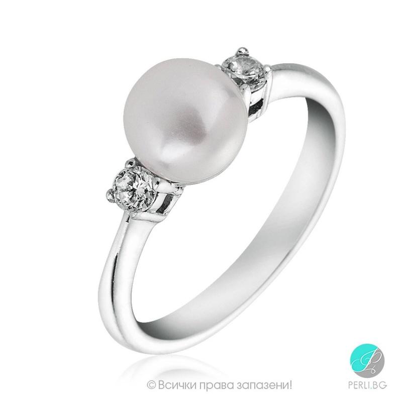Emiko - Сребърен пръстен с Перла и циркони АА 6 - 6.5 мм 253822108-Пръстени