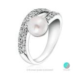 Aiko - Сребърен пръстен с Перла и Циркони АА 8 мм  253821821-Пръстени
