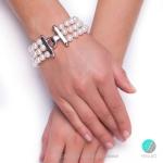 Frederica - Триредна перлена гривна ААА 8 - 8.5 мм 10213-Гривни