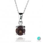 Pierina - Сребърен комплект от две изделия с Опушен кварц - Обеци и Висулка 1313S-Естествени камъни