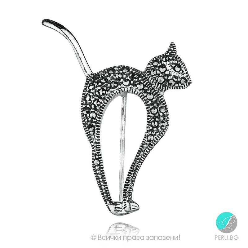 Xiomara - Сребърна брошка  Котка с Марказит 555655438-Естествени камъни
