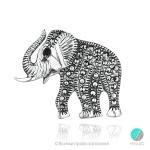 Priscila - Сребърна брошка слонче с Марказит 1407S-Естествени камъни