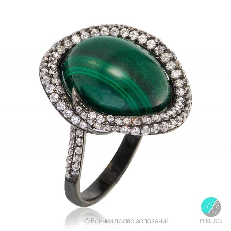 Fiolla - Сребърен пръстен с Малахит и Циркони 1206S-Естествени камъни