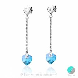Обеци с кристали Сваровски (Swarovski) и сребро