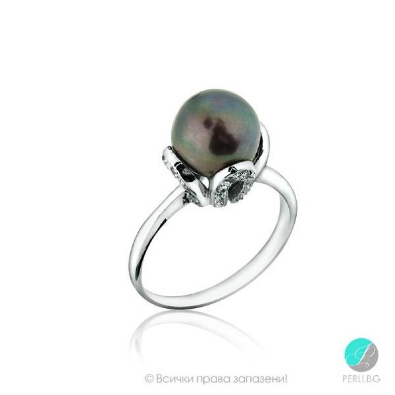 Fiona - Сребърен пръстен с перла ААА 10 - 10.5 мм 10380T-Пръстени