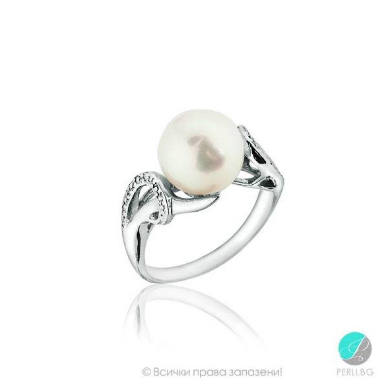 Ines Пръстен - Перла със сребро и циркони AAA 9.5-10 мм.-Пръстени