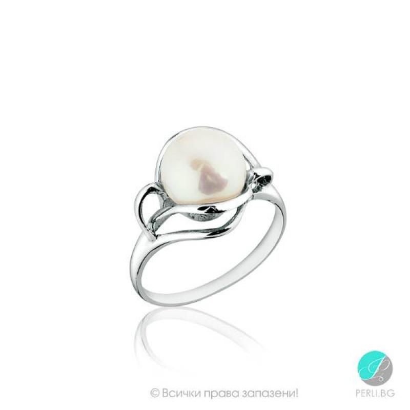 Fiorella Пръстен - Перла със сребро  AAA 9 мм.-Пръстени