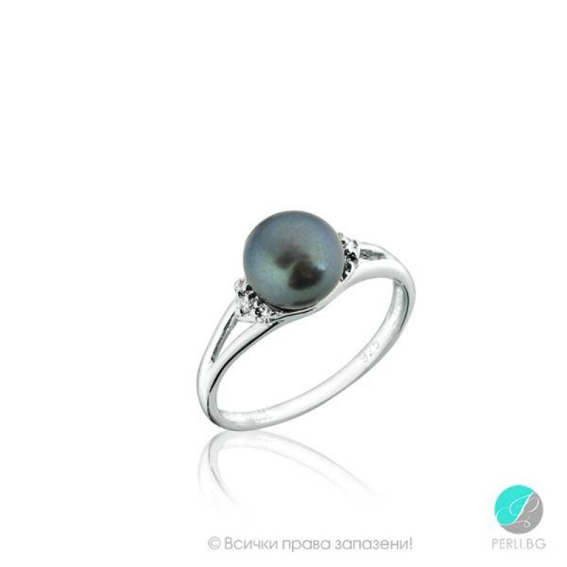Dona Пръстен - Перла със сребро и циркони AA 8 мм.-Пръстени