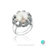 Noemi Пръстен - Перла със сребро и циркони AAA 10 мм.-Пръстени