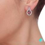 Sabrina - Сребърни обеци с Рубин (Корунд) и Циркони 1450so-Естествени камъни