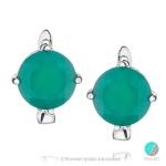 Kayla - Сребърни обеци със зелен Ахат 341s-Естествени камъни