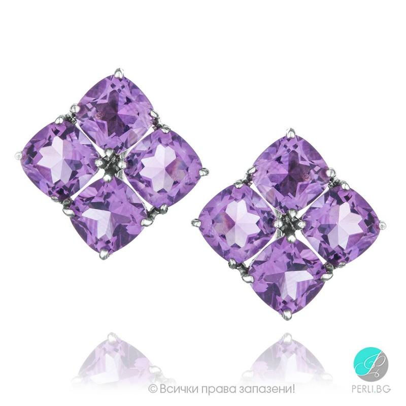 Amelia - Сребърни обеци с Аметист 1381181874-Естествени камъни