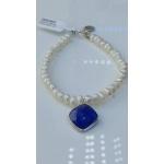 Lilia гривна - перли гривна АА  5 мм със сребро и естествен камък карнеол,флорид -Гривни