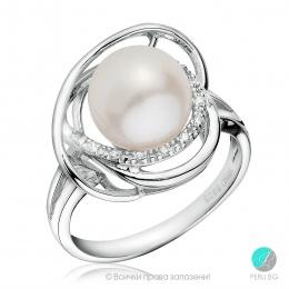 Angie - Сребърен пръстен с Перла и Цирконий 12093-Пръстени