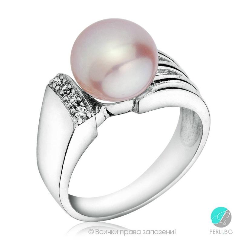 Belinda - Сребърен пръстен с перла 12301-Пръстени