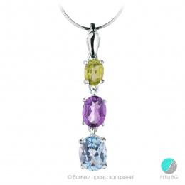 Marlene - Сребърна висулка с Перидот, Аметист и Топаз 13811811681 -Естествени камъни