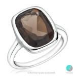 Stephanie - Сребърен пръстен с Опушен кварц 13811811701-Естествени камъни