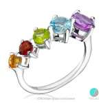 Valerie - Сребърен пръстен с Аметист,Перидот,Гранат,Цитрин и Топаз 1381181291-Естествени камъни