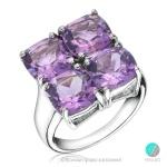 Amelia - Сребърен пръстен с Аметист 1381181875-Естествени камъни