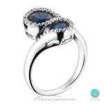 Vanessa - Сребърен пръстен със Сапфир (Корунд) и Циркони 612s-Естествени камъни