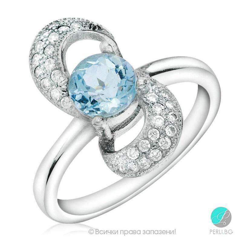 Florence - Сребърен пръстен с Топаз и Циркони 888832473-Естествени камъни