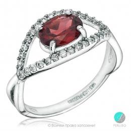 Sabrina - Сребърен пръстен с Рубин ( Корунд ) и Циркони 450s-Естествени камъни