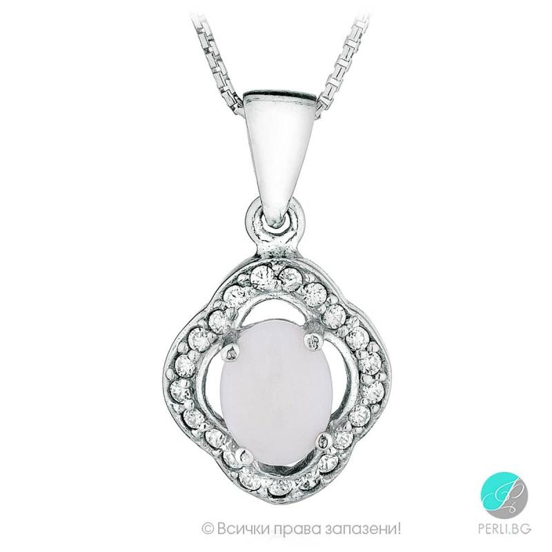 Mishele - Сребърна висулка с Опал и Циркони 888833195-Естествени камъни