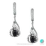 Carrie - Сребърни обеци с Сапфир и Цирконий s1296-Естествени камъни