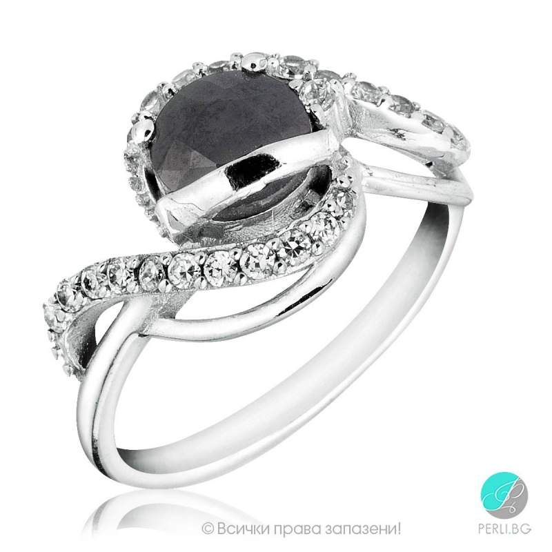 Carrie - Сребърен пръстен с Сапфир и Цирконий s1297-Естествени камъни