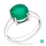 Kayla - Сребърен пръстен с зелен Ахат s1532-Естествени камъни