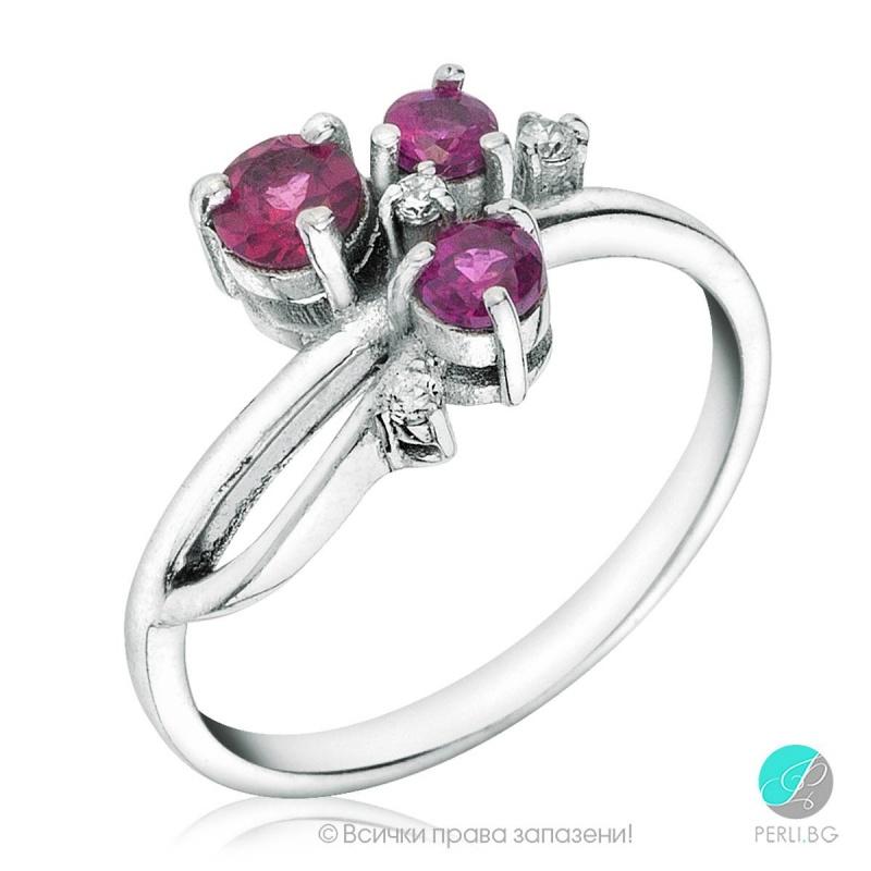 Kristi - Сребърен пръстен с Родолит и Циркони S29-Естествени камъни