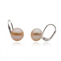 Edna - Сребърни обеци с розова Перла АА 9.5 - 10 мм 10633R-Обеци