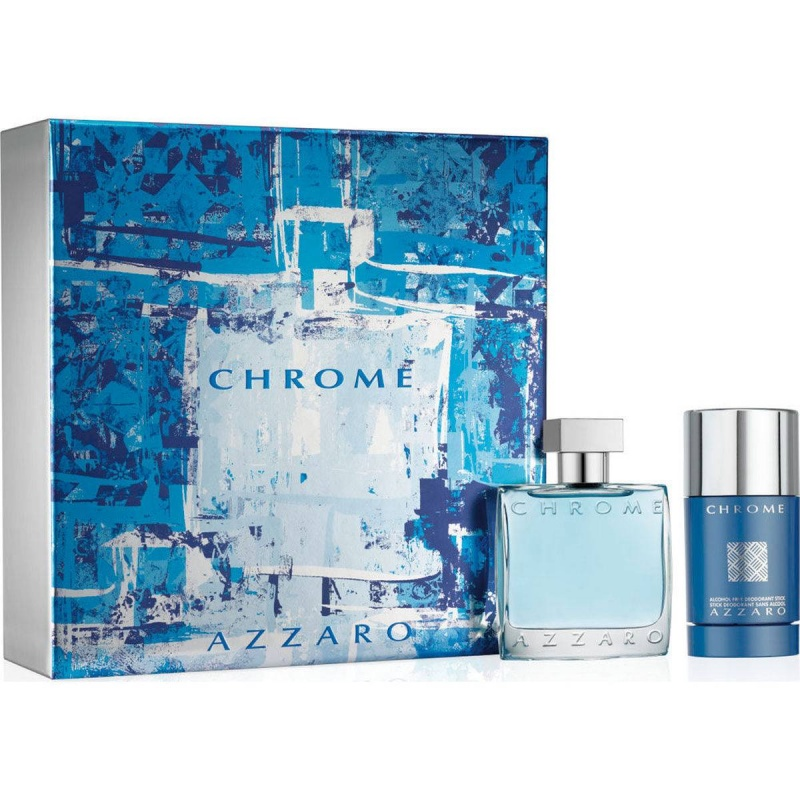 Azzaro Chromе - Комплект за мъже - Тоалетна вода 50мл + Део стик 75 гр.-Парфюми