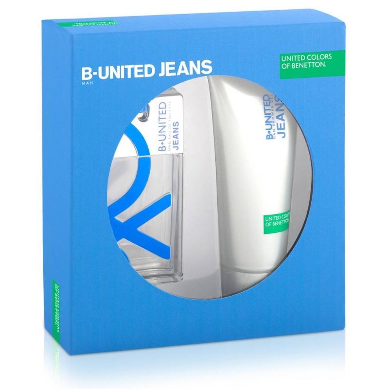 Benetton B.United Jeans комплект Тоалетна вода + Душ гел за мъже EDT + SG 100 мл + 200 мл-Парфюми