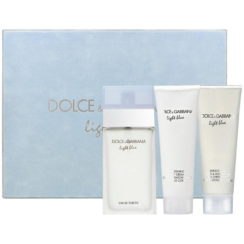 Dolce & Gabbana Light Blue Комплект Тоалетна вода + Лосион за тяло + Душ гел за жени EDT + BC + SG 50 мл + 50 мл + 50 мл-Парфюми