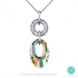 Idina - Сребърно колие с циркони и кристали Swarovski Aurora Borealis 20 мм 6040153020-Кристали