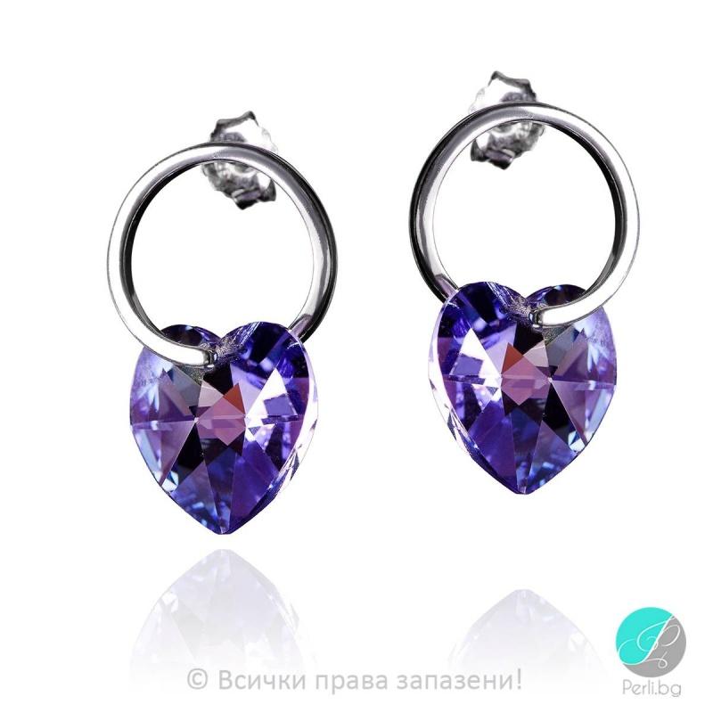 Elzira - Сребърни обеци сърце с кристал Swarovski Tanzanit 16 мм  620244101-Символи на любовта