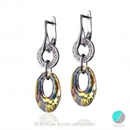Idina - Сребърни обеци с цирконий и кристали Swarovski Aurora Borealis 20 мм 6040151020-Кристали