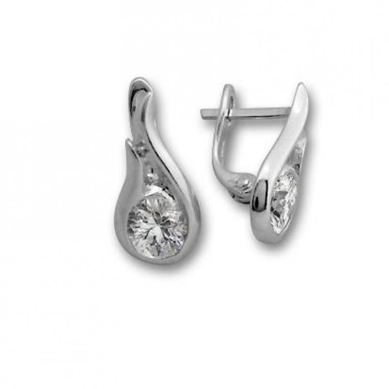 Franceska - Сребърни обеци с Цирконий 114240-Сребърни бижута