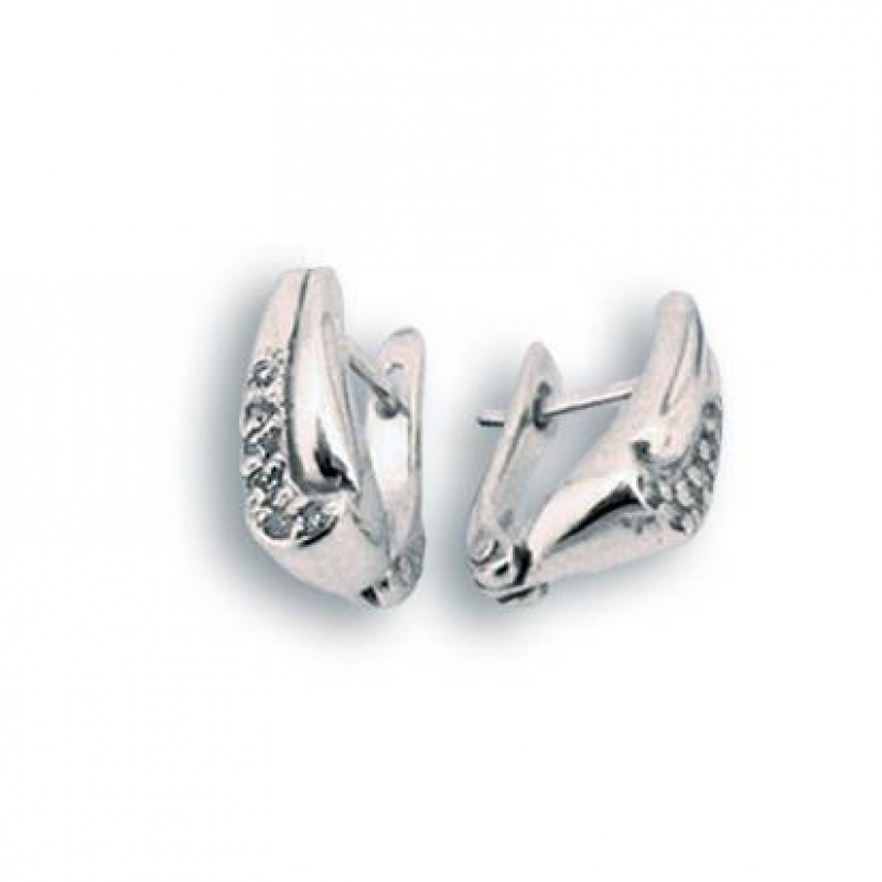Mercedes - Сребърни обеци с Цирконий 138028-Сребърни бижута