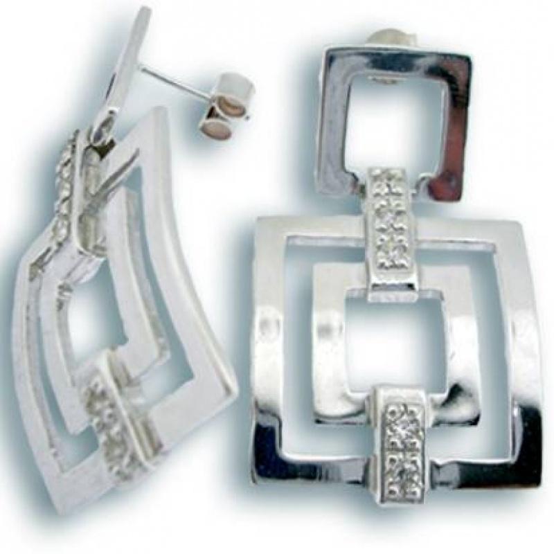Christy - Сребърни обеци с Цирконий 140117-Сребърни бижута