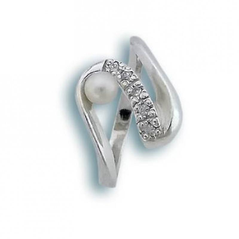 Demi - Сребърен пръстен с Перла и Циркони А 5 мм  1704610-Пръстени